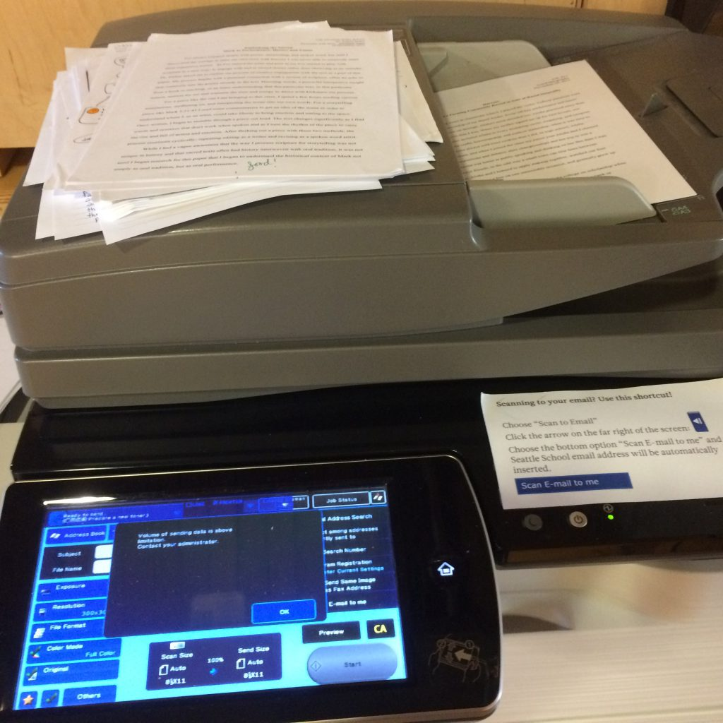 Scanning everything- especially graded papers- helps organize, minimize paper, and make it easier to calculate your grade pre-final.