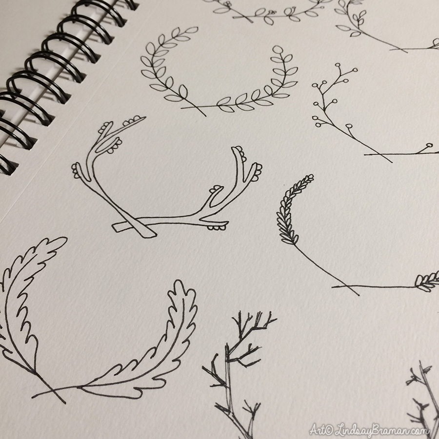 Hand Drawn Laurel Wreath Doodles Lindsaybraman Com