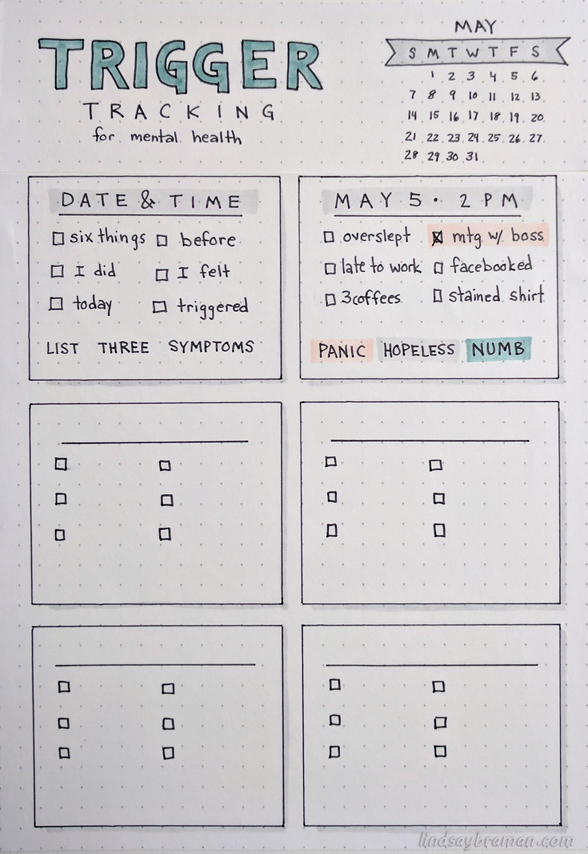 Bullet Journal Mental Health Trigger Tracker Minimalist Layout