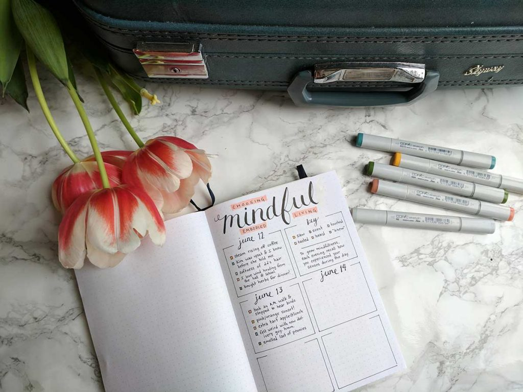 practice mindfulness and intuition with this bullet journal layout
