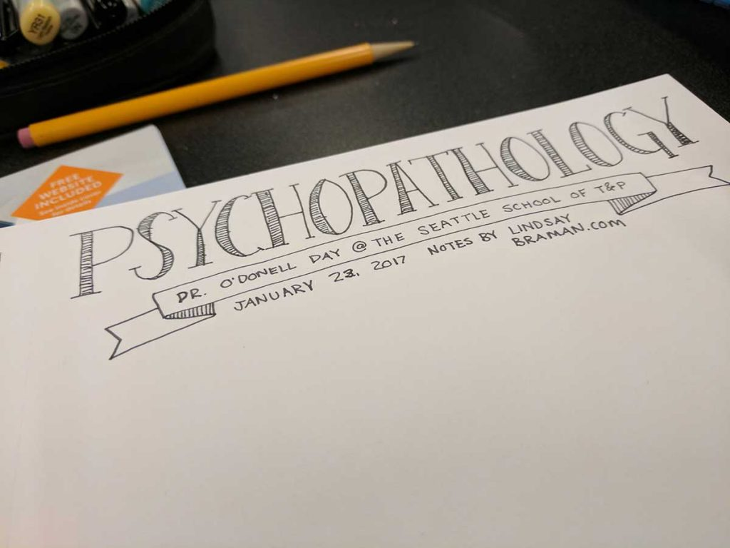 graduate level psychopathology II sketchnote style class notes