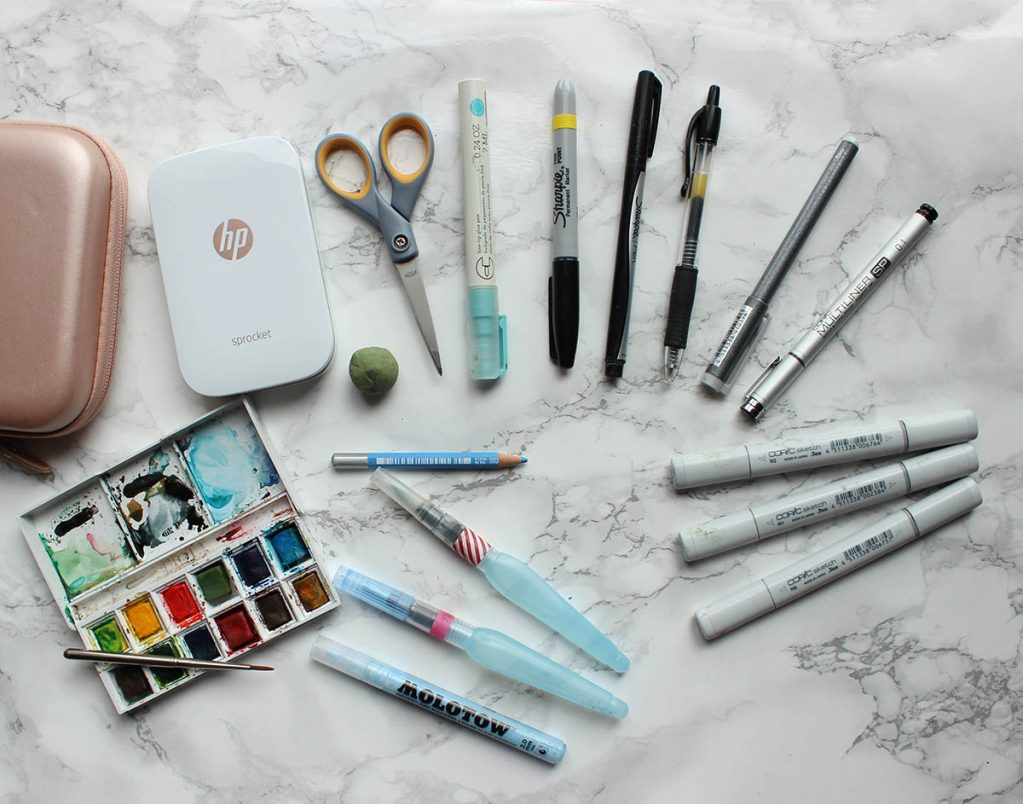 Just the essentials: a months worth of art supplies for a travel art journal kit