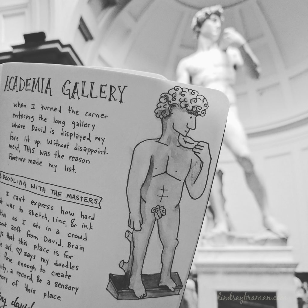 doodle travel journal art of Michelangelo's David At Gallery Academia