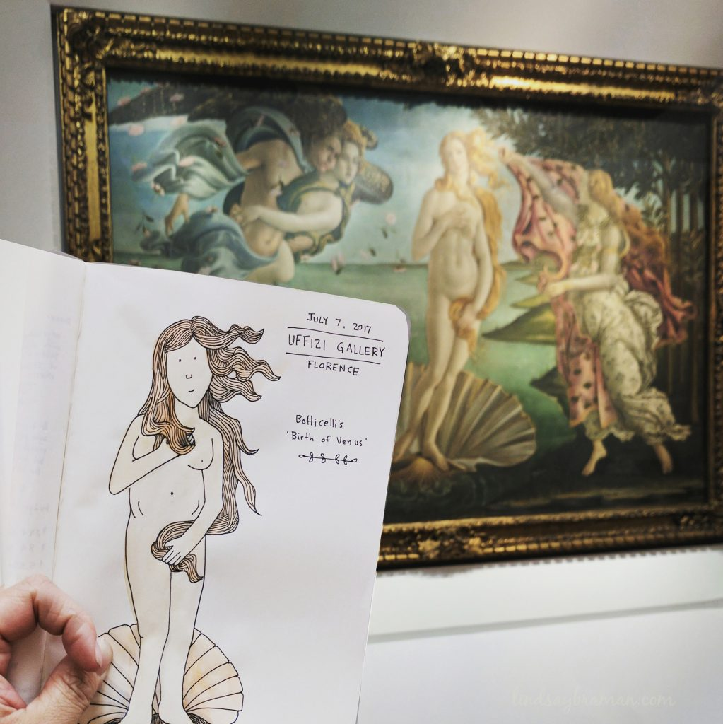 doodle travel journal art of Botacelli's the Birth of Venus painting
