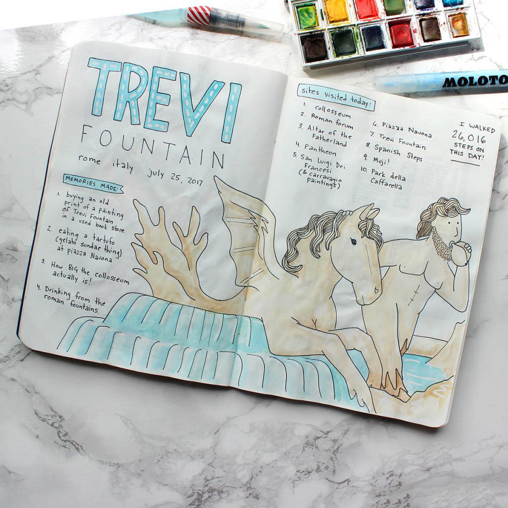 The Molotow Masking Fluid Pen was used in the header and the water, as well as a few points of highlight on the sculptured portion of this Trevi Fountain-inspired doodle.