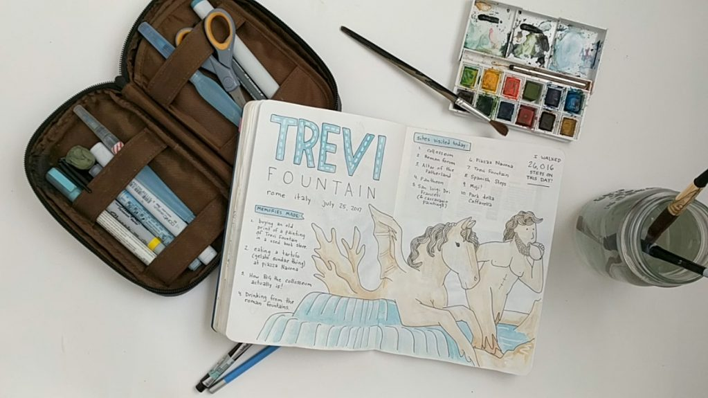 One of the bujo layouts I tried while traveling in Italy