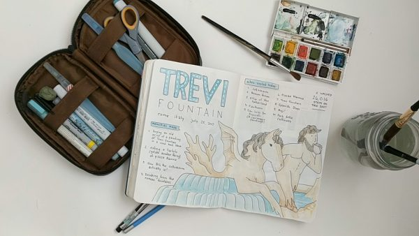 And the Iconic Trevi Fountain, too grand to capture in its fullness so represented in my doodle of a side portion of the fountain