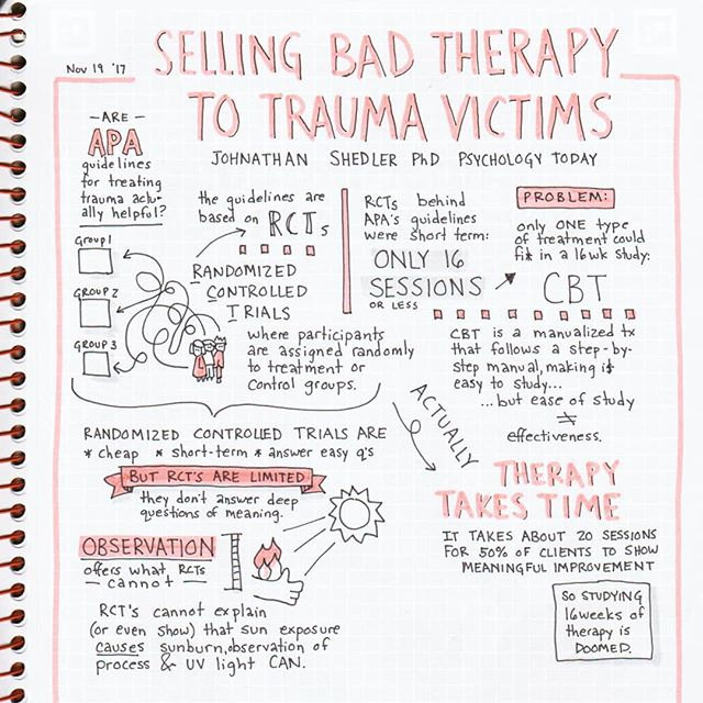 "Are APA guidelines for how we treat trauma based on good data? Last week's reading for my relational therapy course included a bunch of articles reviewing how we evaluate ""success"" in therapy, and left me with a lot to chew on. ....#cbt #psychodynamic #psychoanalysis #psychology #psychblr #psychotherapy #studynotes #handwriting #studyspo #handwritten #psych #sketchnotes #notestagram #bulletjournal #mastersstudent #revisionnotes #studygram #studynotes #studyblr #handwritten #gradblr #studyinspiration #doodles #infographic #classnotes #doodlenotes #sharpiepen #drawinclass #graphicrecorder"