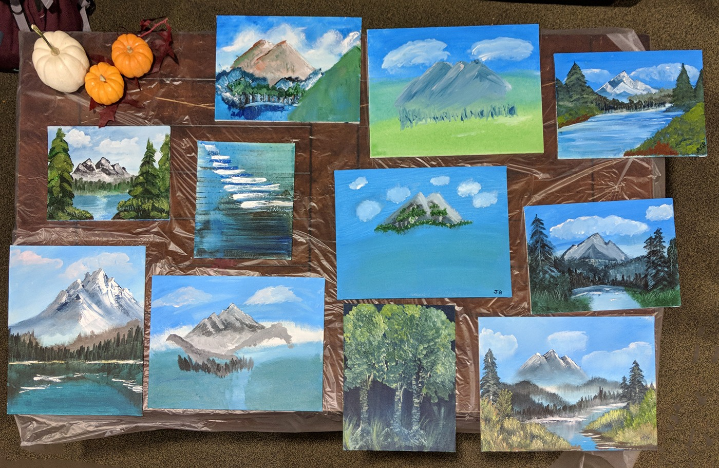 Results of a Paint Along with Bob Ross party