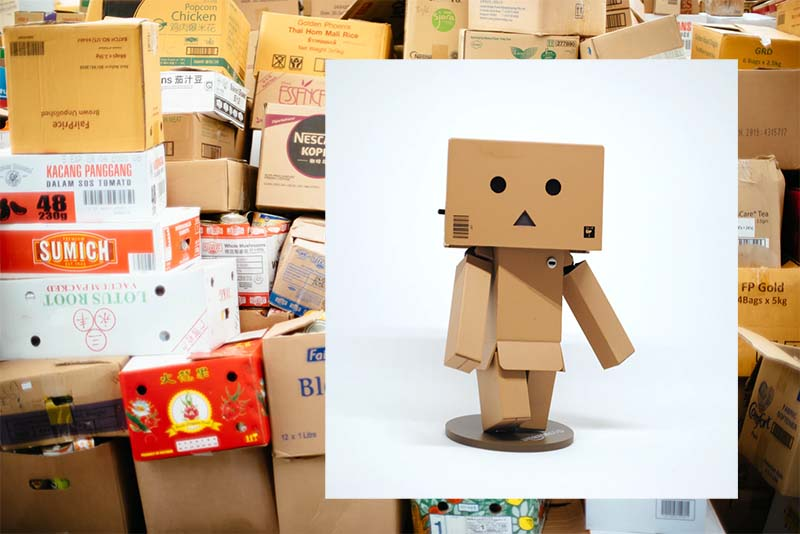 Repurposed cardboard boxes made into art pieces
