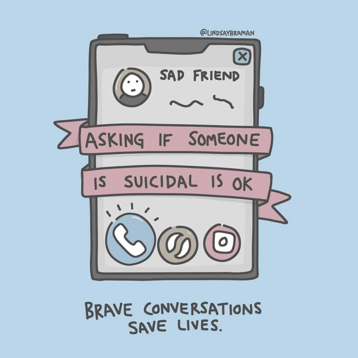 A doodle of a cell phone with a banner that reads: asking if someone is suicidal is ok, with the words below: brave conversations save lives
