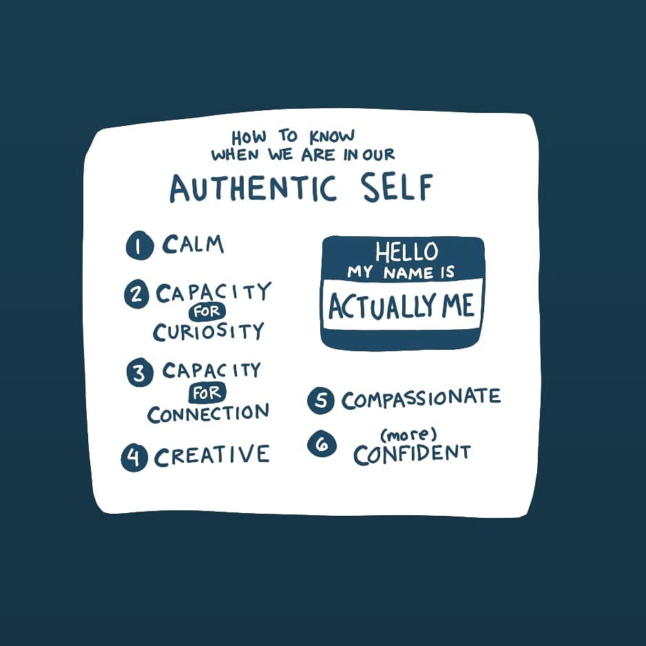 "@LindsayBraman.com Image Description: A white box on dark blue background reads: ""How to know when we are in our authentic self: 1. calm, 2. capacity for curiosity, 3. capacity for connection, 4. creative, 5. compassionate, 6. (more) confident."" Next to the words is a ""Hello my name is"" handdrawn sticker with ""actually me"" written in the name blank."