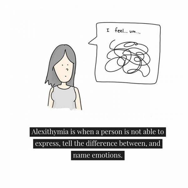 "Drawing of a person with a thought bubble above their head. Inside the thought bubble is ""I feel..um.."" with scribbles inside the bubble. Below is text that reads: ""Alexithymia is when a person is not able to express, tell the difference between, and name emotions."""