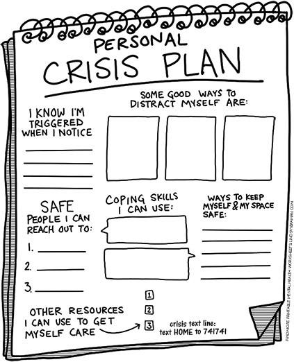 Personal crisis plan, printable PDF.