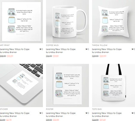 Society6 purchase options for the Coping Skills graphic.