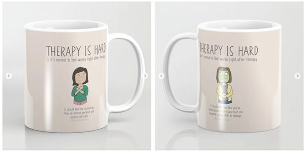 Therapy is hard doodle on a mug.