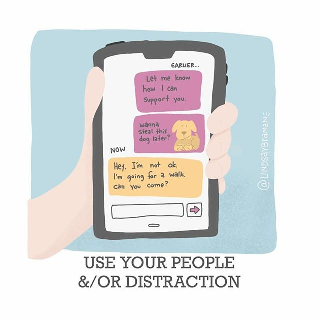 """Image titled """"Use your people and or  distraction."""" Doodle of a light-skinned person holding a phone that has text exchanges on it that show a friend checking in and asking how the can  help."""