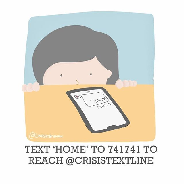"""Image titled """"Text 'HOME'  to 741741 to reach the Crisis Text Line."""" Doodle of a person with light skin and dark hair peeking over a table at a phone that haas a text sent to that number."""