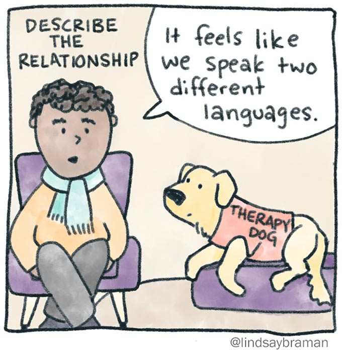 "When you don't know what to say in therapy, you can try to describe the relationship. Image of a person in a chair, speaking to a therapy dog on the ground. In the speech bubble is written, ""It feels like we speak two different languages."""