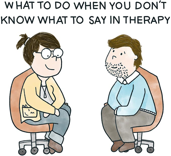 What to do when you don't know what to say in therapy. Image of a therapist and a client sitting together.