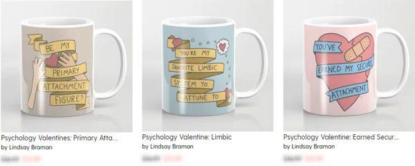 Psychology Valentine doodles on mugs.
