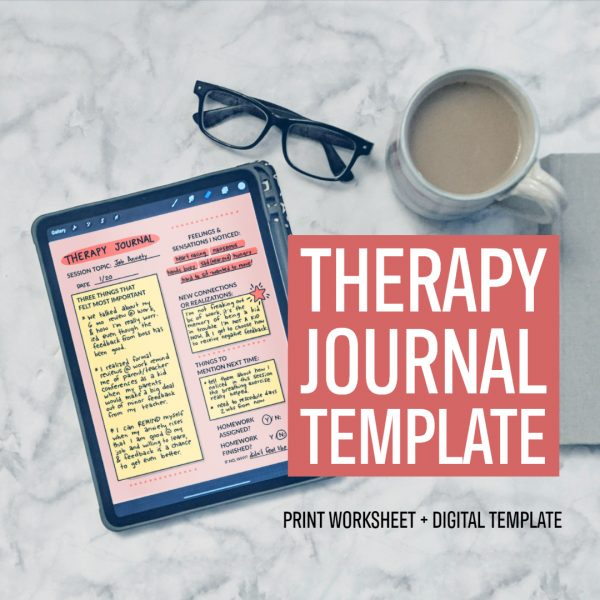 Therapy Journal Template: print worksheet + digital template
