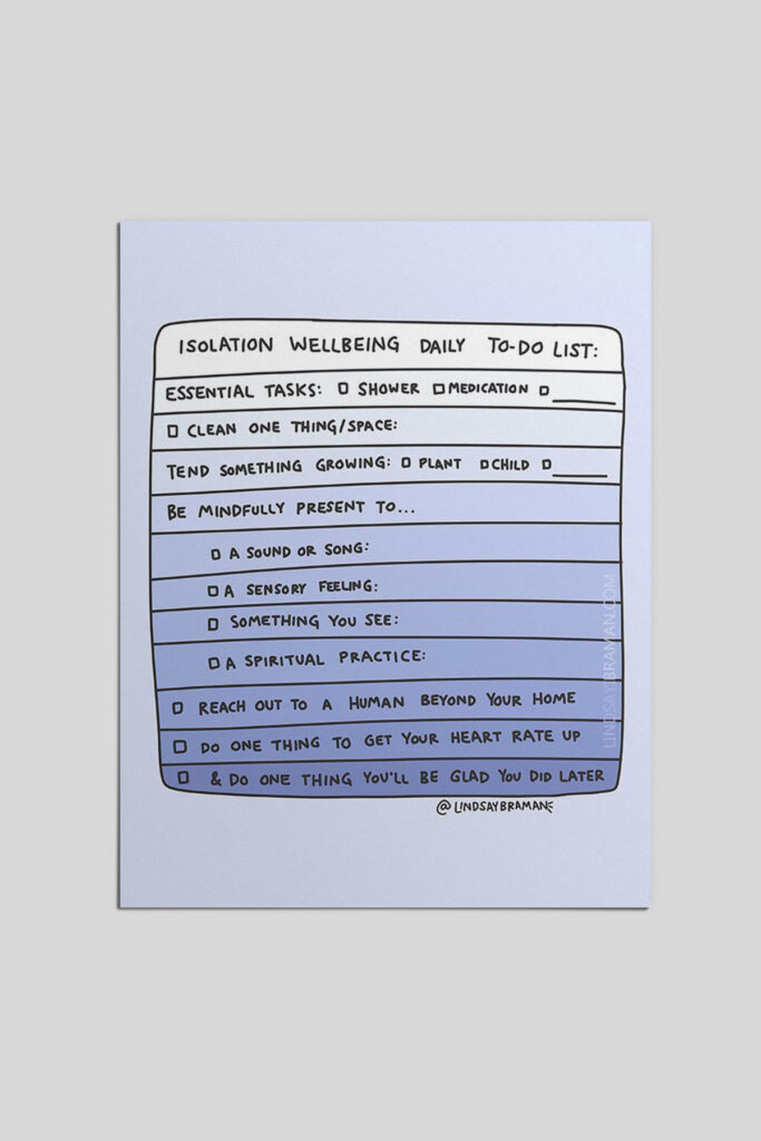 Isolation Mental Health Wellbeing Daily To-Do List Worksheet