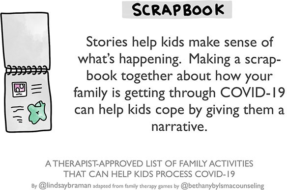 "Drawing of a notepad with scribbles and pictures. Text says: ""Scrapbook. Stories help kids make sense of what's happening. Making a scrap-book together about how your family is getting through COVID-19 can help kids cope by giving them a narrative."""