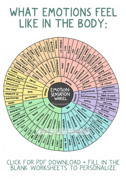 an image showing three inset circles. The inner wheel is basic emotions- happy, sad, disgust, etc- the middle circle contains feeling words- despair, disappointment, awe, etc. The outer circle contains words that describe a sensation that someone might feel in their body if they were feeling the corresponding emotion.