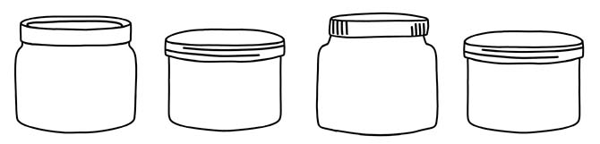 Image that depicts doodles of glass jars.