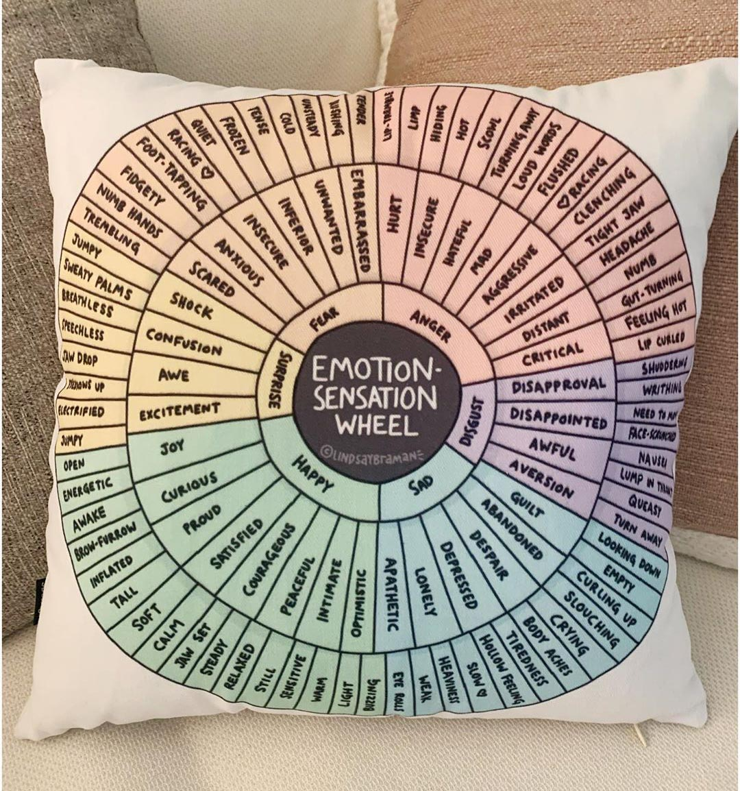 Up close picture of the emotion-sensation feeling wheel pillow.