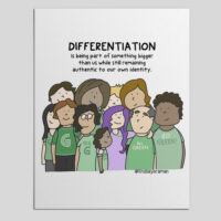eads: Differentiation is being part of something bigger than us while still remaining authentic to our own identity. Image of 11 people of different shapes, sizes, and gender identities with arms around each other.