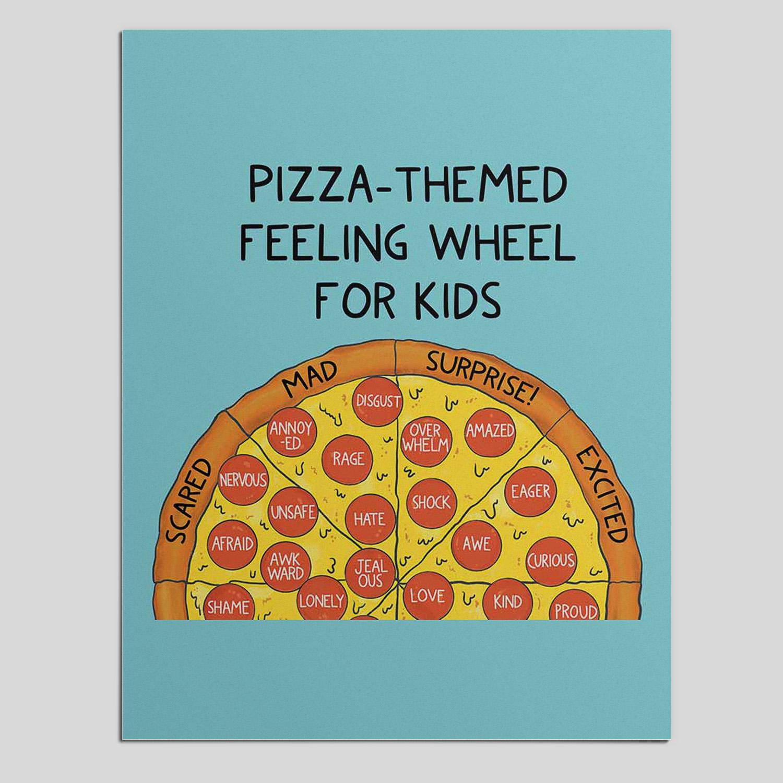 Pizza-themed feeling wheel for kids