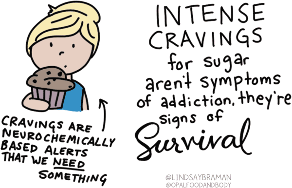 Drawing of a white-skinned person with blonde hair pulled into a bun, wearing a blue shirt and staring at a chocolate chip muffin in a pink wrapper. Underneath is written: Cravings are narrow chemically based alerts that we need something, intense cravings for sugar aren't symptoms of addiction, they're signs of survival.