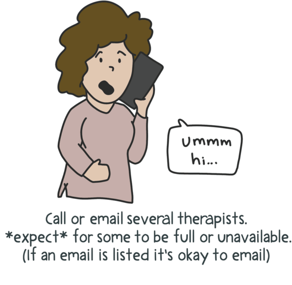 An illustrated doodle of a woman on the phone with a speech bubble that says um hi