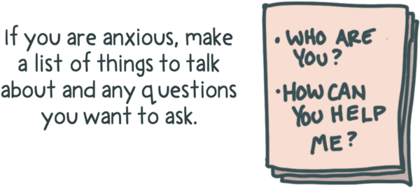 If you are anxious make a list of things to talk about and any questions you want to ask your therapist