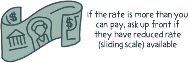 Some therapists offer a reduced rate fee called a sliding scale