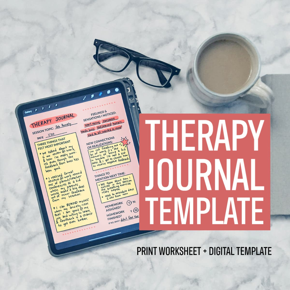 Journaling can help make therapy appointments more effective. Download this therapy journal template for post-therapy processing