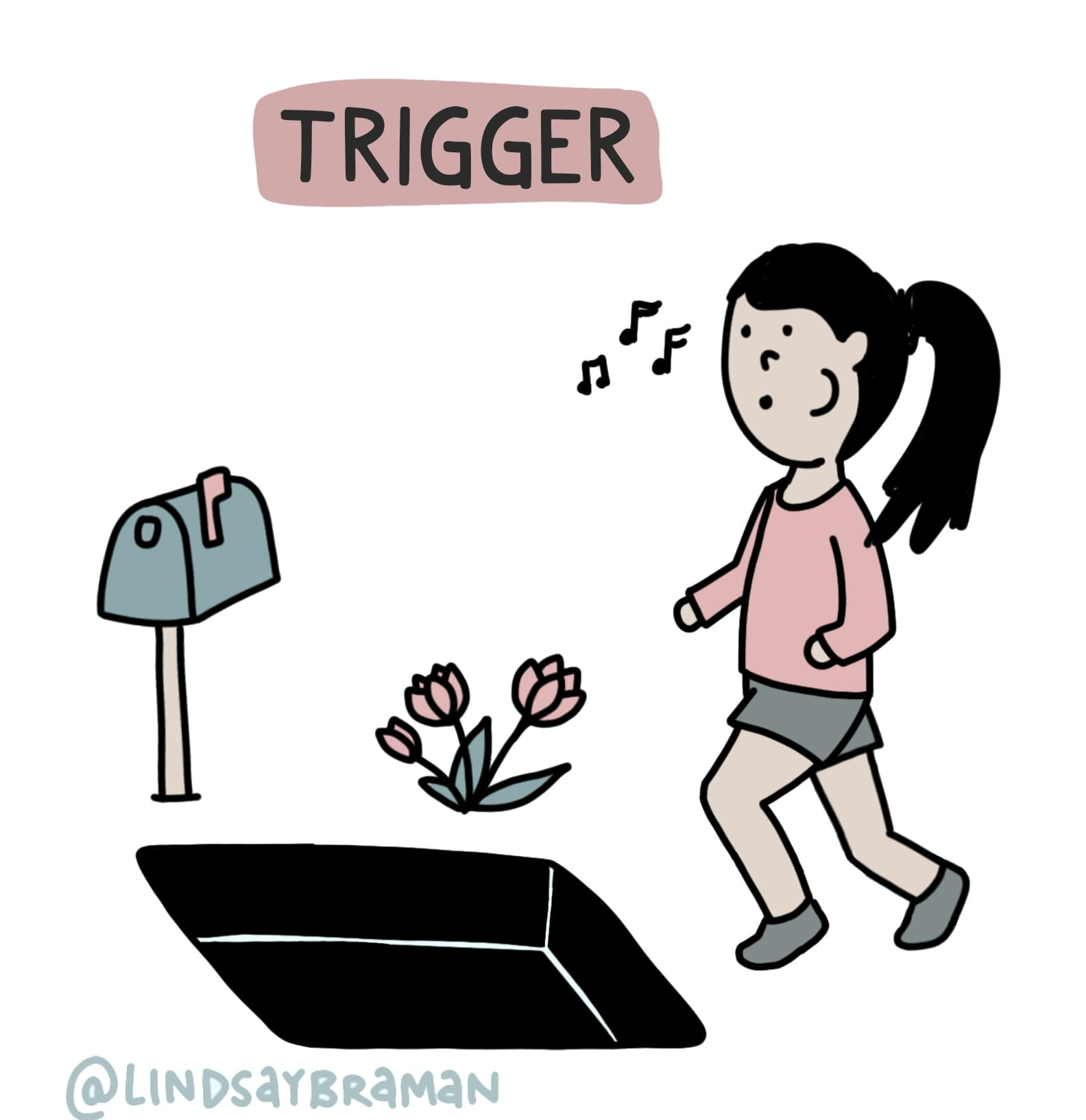 girl walking into a trapdoor