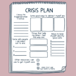 drawing of a notebook with a blank safety plan added