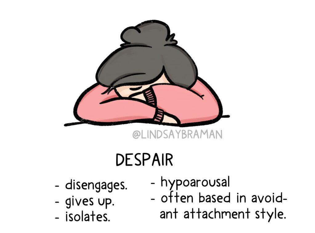 drawing of a girl in despair