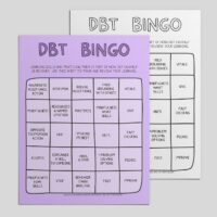 DBT Bingo: learning skills and practicing them is a part of how DBT can help us recover. Use this sheet to track and review your learning.