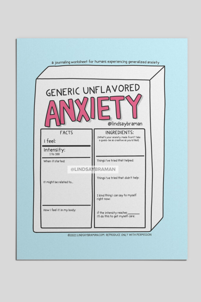 A playfully handdrawn worksheet with journaling prompts about generalized anxiety.