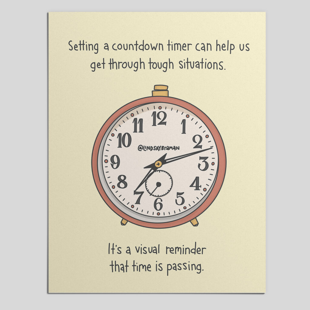 """Yellow background with an orange and gold analog clock drawn in the center. The clock reads 7:12. Text around the clock reads: """"Setting a countdown timer can help us get through tough situations. It's a visual reminder that time is passing."""""""