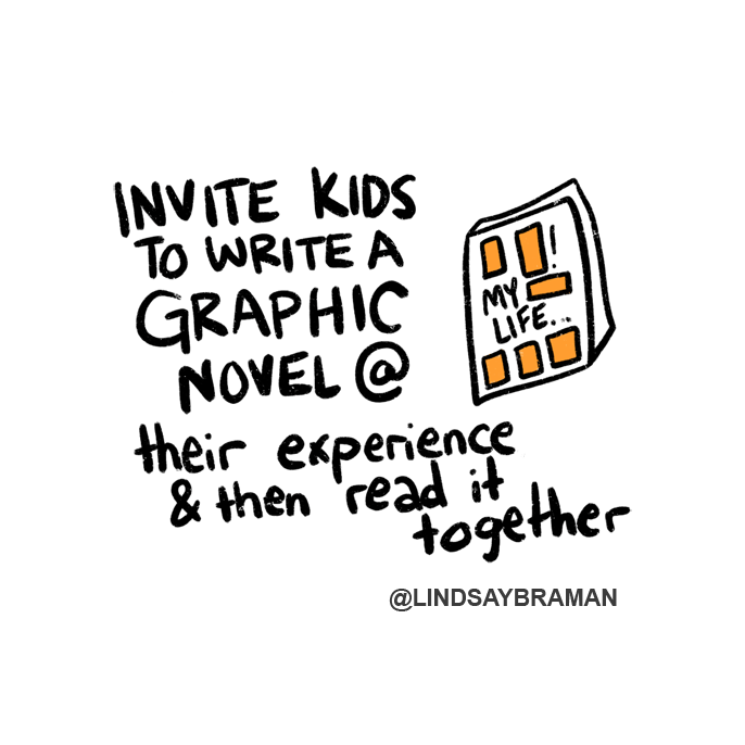 """Text reads, """"Invite kids to write a graphic novel of their experience and then read it together."""" Next to this is a drawing of a comic that is titled, """"My life."""""""