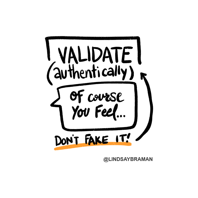 """Text reads, """"VALIDATE (authentically)."""" There is a speech bubble drawn under this text that reads, """"Of course you feel..."""" Below is written, """"Don't fake it!"""" underlined in orange with an arrow pointing at """"authentically."""""""