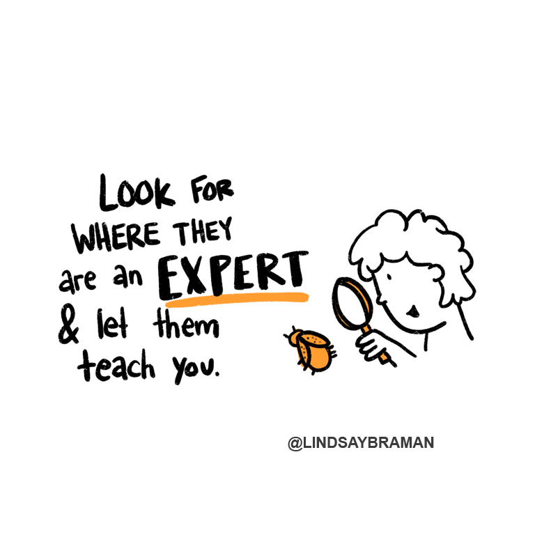 """A drawing of a person with an orange magnifying glass looking at an orange bug with text that says, """"Look for where they are an expert and let them teach you."""" The word """"expert"""" is underlined in orange."""