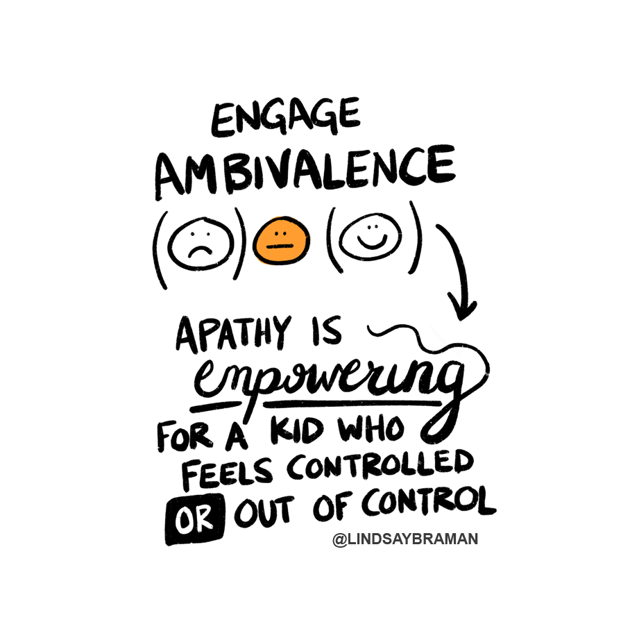 """Text reads, """"Engage ambivalence."""" Underneath are three circles with faces drawn in them. The first face is inside of a set of parentheses and is growing. The second face is orange and has a straight-lined mouth. The third face is inside a set of parentheses and is smiling. Below is more text: """"Apathy is empowering for a kid who feels controlled or out of control."""" The word """"empowering"""" is underlined, and the word """"or"""" is written in white text inside a black box."""