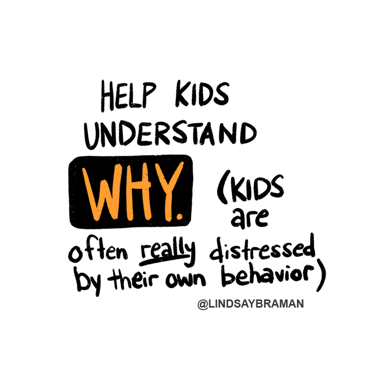 """Text reads, """"Help kids understand WHY. (Kids are often really distressed by their own behavior.)"""" The word """"why"""" is written in orange text on a black box, and the word """"really"""" is underlined."""