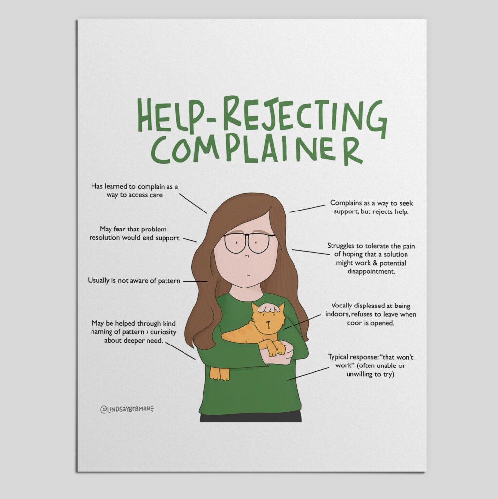 """Image is titled """"Help-Rejecting Complainer."""" In the middle of the image is a hand-drawn person with light colored skin, long and wavy brown hair. They are wearing glasses and a green sweater, holding a yellow cat. There are phrases all around the person, describing a help-rejecting complainer: has learned to complain as a way to access care; may fear problem-resolution would end support; usually is not aware of pattern; may be h helped through kind naming of pattern/curiosity about deeper need; complains as a way to seek support, but rejects help; struggles to tolerate the pain of hoping that a solution might work and potential disappointment; vocally displeased at being indoors, refuses to leave when door is opened; typical response: """"that won't work"""" (often unable or unwilling to try)."""